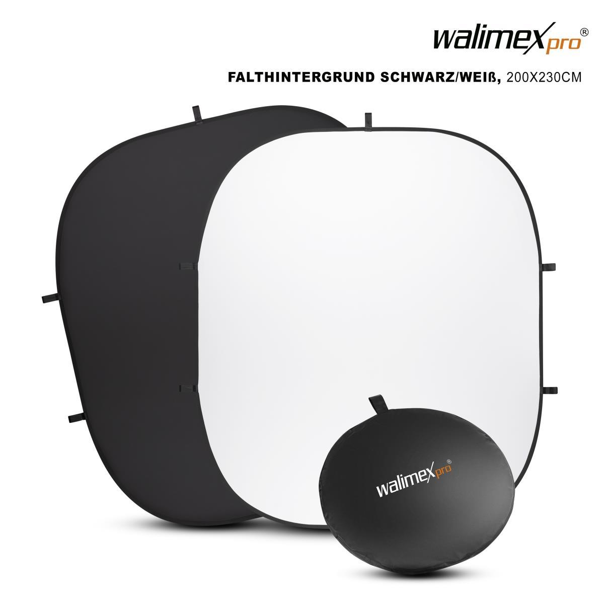 Walimex pro 2in1 Falthintergrund s/w 200x230cm