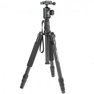 Kiwifotos Alu-Reisestativ inkl. Kugelneiger - Höhe 144 cm - Packlänge 36 cm - z.B. für kleine DSLRs und DSLM-Kameras