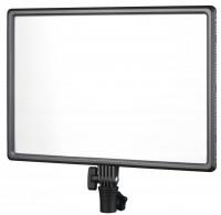 NANLITE LED-Stativleuchte LumiPad 25, mit 256 SMD-LEDs. 3200 - 5600 K, blendfreies Licht, dimmbar. Neigegelenk. Netzbetrieb. Akkubetrieb mit zwei Akku