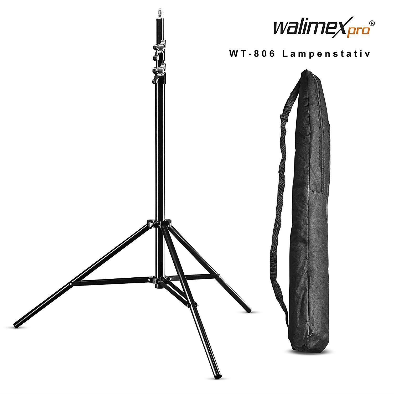 walimex pro WT-806 Lampenstativ maximale Höhe 256cm mit Federdämpfung und Transporttasche