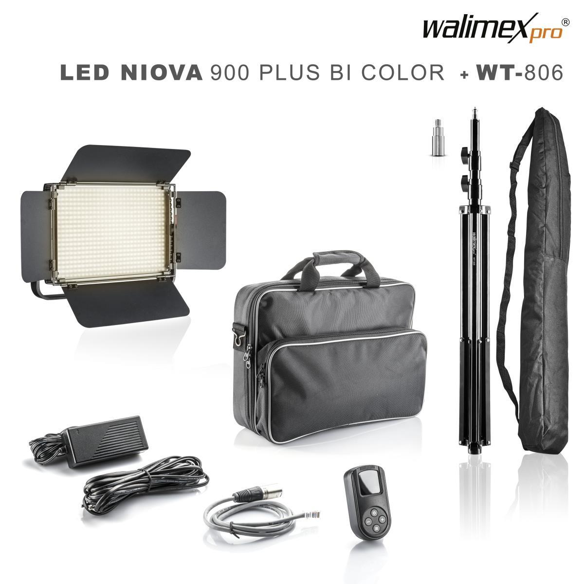Walimex pro LED Niova 900 Plus Bi Color 54W Set mit  WT-806 Stativ