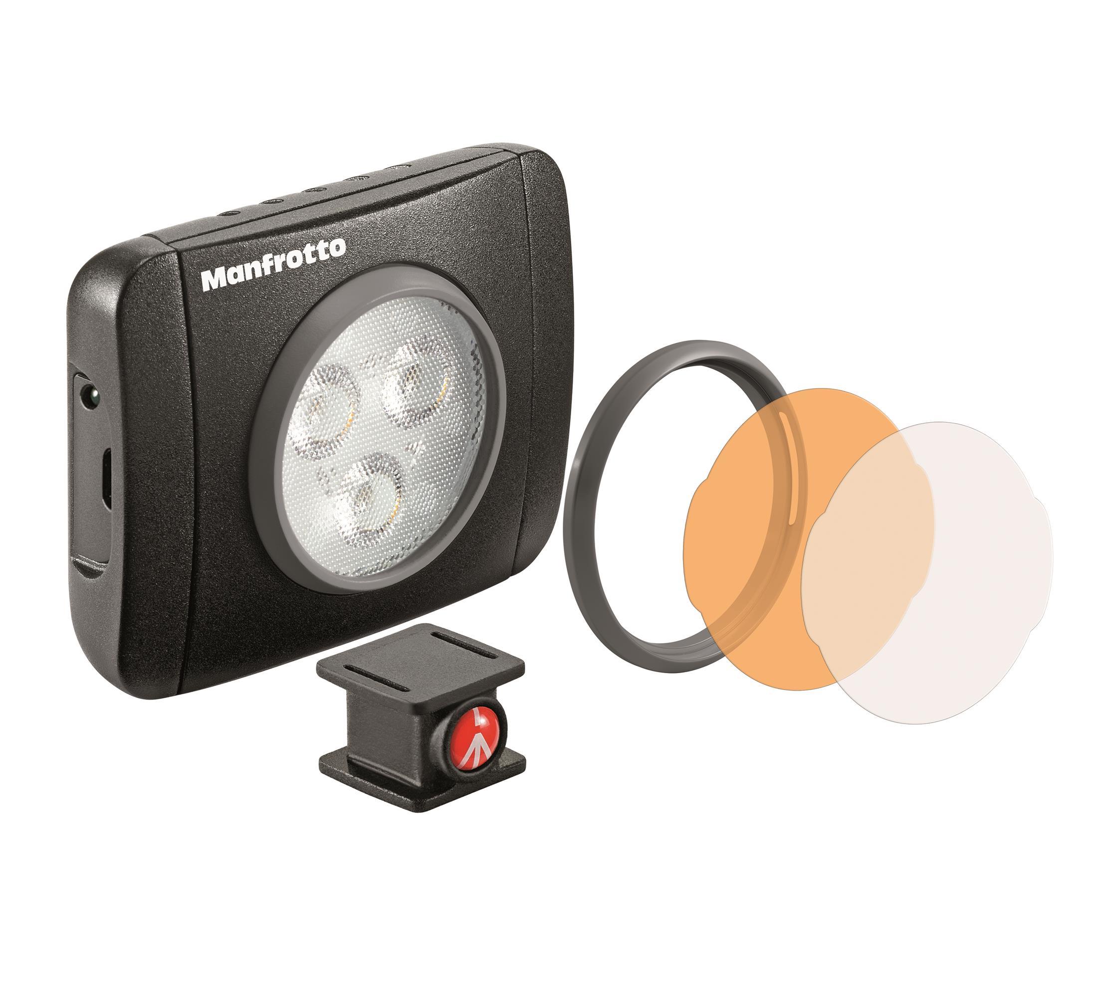 Manfrotto LED-Licht Lumimuse 3 mit Schnapp-Filterfassung, schwarz