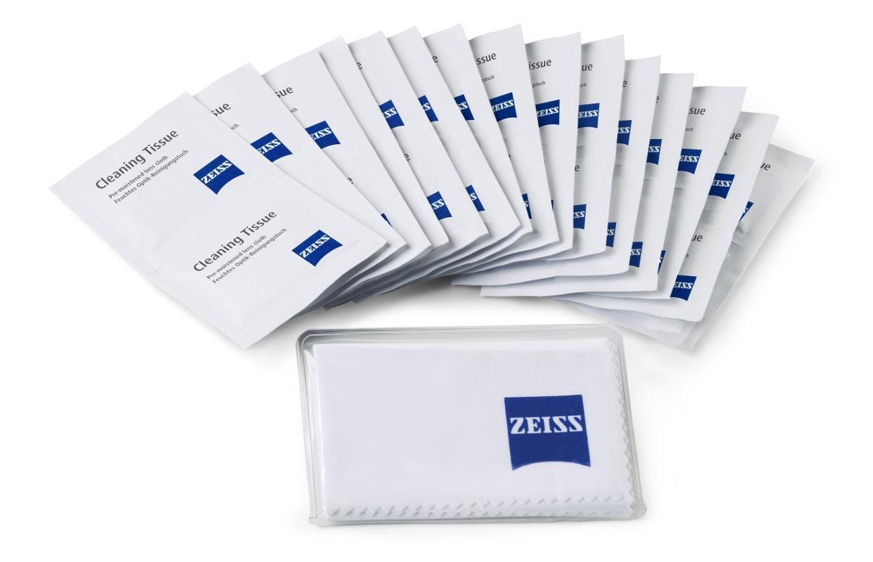 ZEISS Feuchttücher 20x + Mikrofaser 18x18 cm